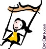 Girl playing on a swing Vector Clip Art picture