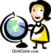 Teacher pointing to a globe Vector Clip Art graphic
