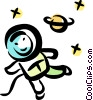 Astronaut floating in space Vector Clip Art image