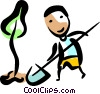 Man planting a tree Vector Clip Art picture