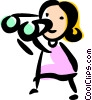 Woman looking through binoculars Vector Clipart picture