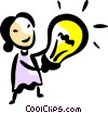 Woman with an idea light bulb Vector Clip Art picture