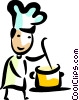 Chef making a pot of soup Vector Clipart picture