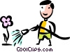 Man watering his flowers Vector Clip Art picture