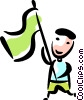 Man waving a flag Vector Clipart picture