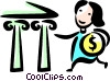 woman making a deposit in her bank Vector Clipart image
