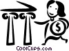 Vector Clipart picture  of a woman making a deposit in her
