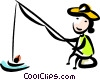 Man fishing Vector Clip Art picture