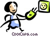Woman plugging in her plug Vector Clipart graphic