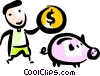 Man putting money into his piggy bank Vector Clipart illustration