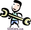 Auto Mechanic with a wrench Vector Clipart picture