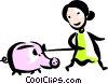Vector Clipart graphic  of a Pigs