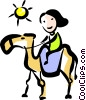 woman on a camel Vector Clipart illustration