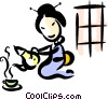 Geisha girl making tea Vector Clip Art graphic