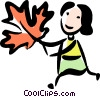 Woman with a leaf Vector Clip Art picture