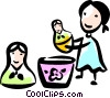 Girl playing with toys Vector Clipart illustration