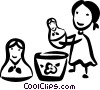 Vector Clip Art graphic  of a Children Playing