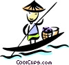 Japanese man in his boat Vector Clipart picture