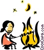 Woman at the camp fire Vector Clipart graphic