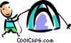 Man assembling his tent Vector Clip Art image