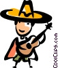 Spanish guitar player Vector Clipart image