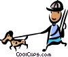 Man with his hunting dog Vector Clip Art graphic