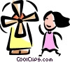 Woman and a Dutch Windmill Vector Clip Art picture