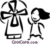 Dutch Windmills Vector Clip Art picture