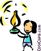 Woman with an Oil Lamp Vector Clipart illustration