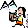 Woman carrying a pail by mountains Vector Clipart illustration