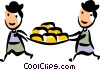 Men carrying cheese Vector Clipart image