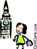Tourist visiting The London Tower Vector Clipart graphic