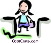 Businesswomen coming up the escalator Vector Clipart illustration