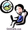 Woman working on the plane Vector Clip Art picture