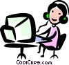 Businesswomen at her work station Vector Clip Art picture