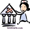 nurse applying a bandage to a bank Vector Clipart graphic