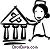Vector Clipart illustration  of a nurse applying a bandage to a