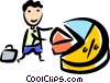 Man with pie chart Vector Clipart picture