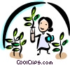 Botanist in a greenhouse Vector Clip Art graphic