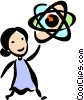 Businesswoman with atoms Vector Clipart illustration