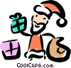 Vector Clipart picture  of a Santa giving out presents