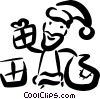 Vector Clip Art image  of a Santa giving out presents