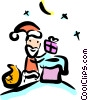 Vector Clip Art graphic  of a Santa going down the chimney