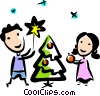 brother and sister decorating their Christmas tree Vector Clipart picture