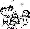 Vector Clipart graphic  of a decorating their Christmas tree