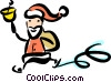 Vector Clipart image  of a Santa skating while ringing a