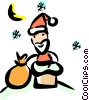 Vector Clipart graphic  of a Santa going down the chimney