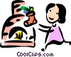 girl checking her stocking Christmas morning Vector Clipart picture