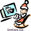 Vector Clip Art graphic  of a Santa reading his mail