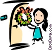 girl placing a wreath on her door Vector Clip Art image